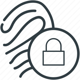 biometric, digital security, fingerprint lock, lock sign, security concept icon