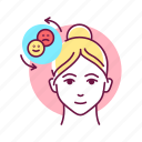 character, emotion, emotional, face, female, self control icon
