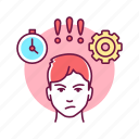 anger, character, emotion, face, male, management, self control icon