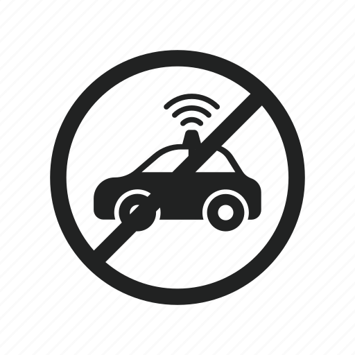 ban, car, driving, self, self driving car, sign icon