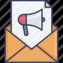 announcement, email, envelope, marketing, megaphone, newsletter