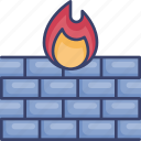 build, fire, firewall, internet, protection, security, wall
