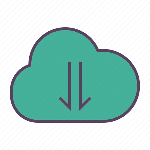 arrow, cloud, download, info, storage icon