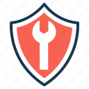 firewall, protection, repair, security, shield, tools icon