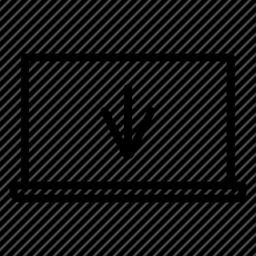 arrow, computer, download, laptop, seo icon