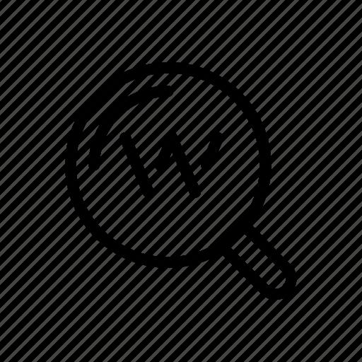 glass, keyword, search icon