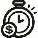 alarm, clock, coin, money, saving, savings, time icon