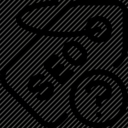 label, optimization, question, seo, tag icon