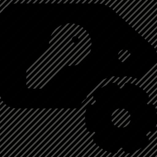 configuration, key, preferences, settings, tag icon