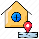 add location, health care center, hospital, map, medical center, route icon
