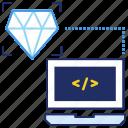 clean code, coding, development, programming, script, seo icon