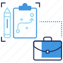 briefcase, business plan, document, planning, requirement change, seo, strategy icon