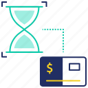 credit card, money, payment, sandclock, seo, shopping, time icon