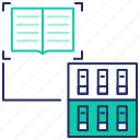 books, education, elearning, library, seo, study icon