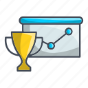 analytics, diagram, report, rophy icon