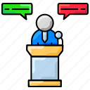 addressing, conversation, marketing, meeting, presentation
