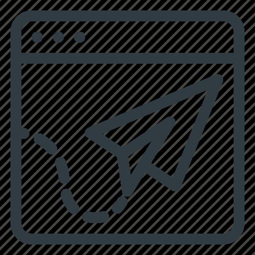 landing, page, paper, plane, seo, web, website icon