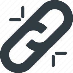 broken, chain, link icon