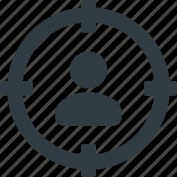 marketing, remarketing, seo, target, targeting, user icon