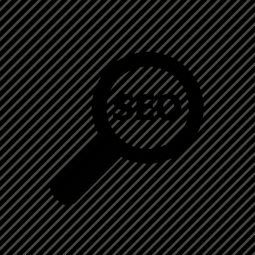 audit, examine, explore, magnifier, optimisation, search engine icon