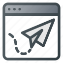 landing, page, paper, plane, seo, web, website icon