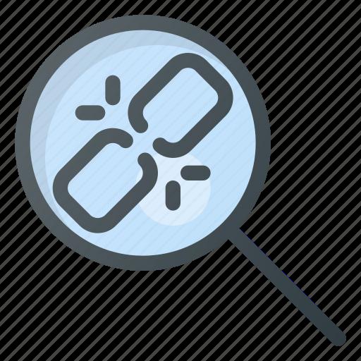 broken, chain, hyperlink, link, linking, search, seo icon