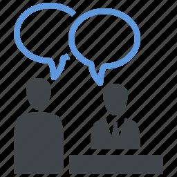 job interview, teamwork, usability icon