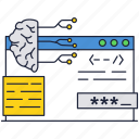 artificial, brain, chip, computer, human, intelegence, interface icon