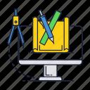 computer, divider, draw, pencil, ruler, tools
