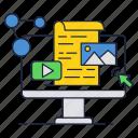 click, computer, photo, play, script, video icon