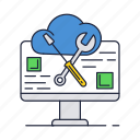computer, construction, maintenance, under, website, wrench icon