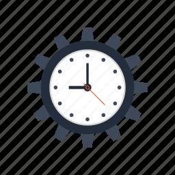 clock, cogwheel, deadline, management, optimization, seo, time icon