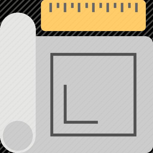 architecture, blueprint, construction plan, draft, house map icon