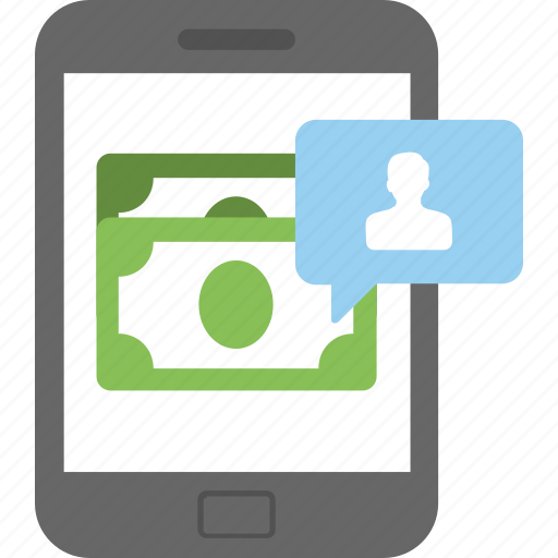 banknotes, e banking, mcommerce, mobile banking, online payment icon
