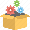 cogs, ecommerce, logistics management, order management, package icon
