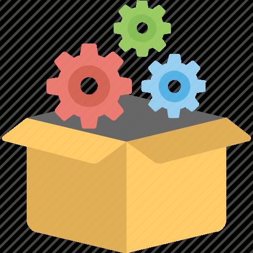 cogs, ecommerce, logistics management, order management, package icon