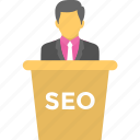seminar, seo expert, seo specialist, seo training, workshop icon