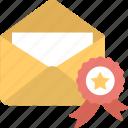 advertisement feedback, envelope award, marketing performance, marketing success, quality marketing icon