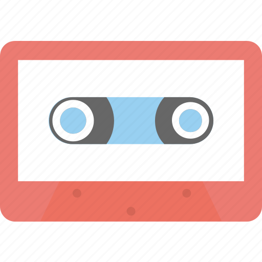 audio tape, cassette, cassette tape, compact cassette, music cassette icon