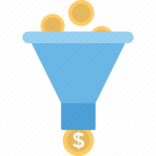 economy, filtration, funnel, money filter, sales funnel icon