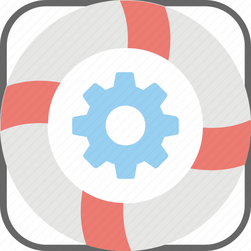 business insurance, business stability, lifesaver button, lifesaver with cogwheel, owner protection icon