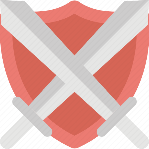 crest, cross swords shield, medieval shield, safety sign, swords shield icon