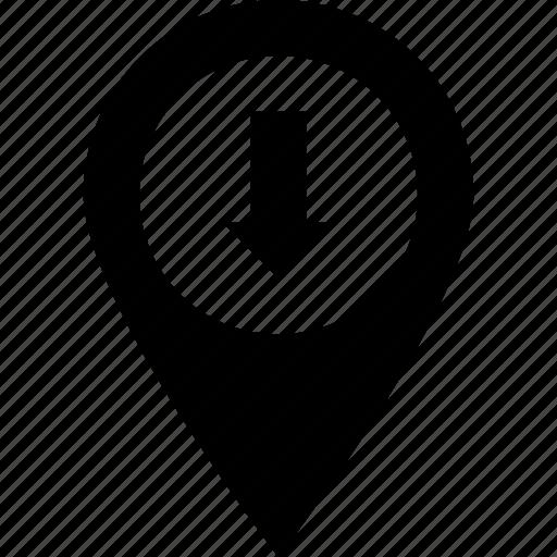 arrow, location arrow, location pin, map pin, pin icon