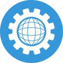 cogwheel, global, global seo, globe, internet, network, seo icon