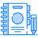 agenda, catalogue, diary, drafting pad, jotter, notebook, notepad