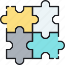 business, collaboration, integration, partner, partnership, puzzle, solution icon