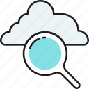 cloud, search, computing, data, find, magnifier, storage