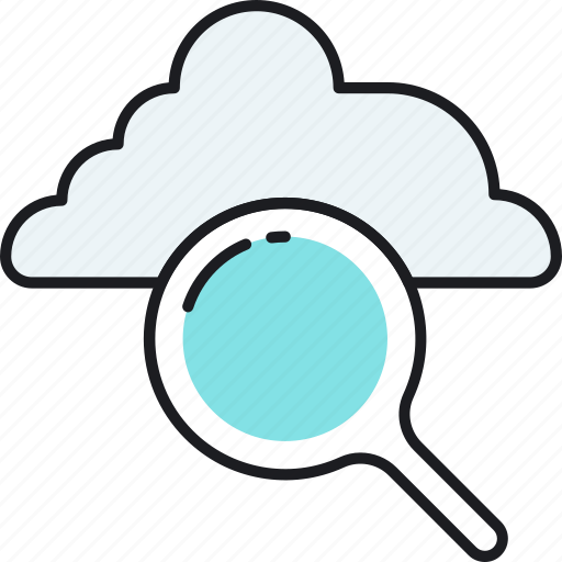 cloud, computing, data, find, magnifier, search, storage icon