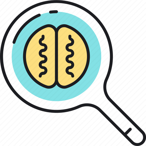 brain, content, information, magnifier, marketing, optimization, search icon