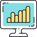 analysis, bar, chart, graph, keyword, rank, seo icon